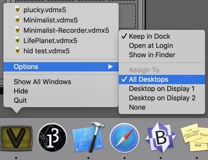 VDMX in the dock when using multiple spaces